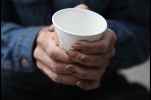 homeless collection cup