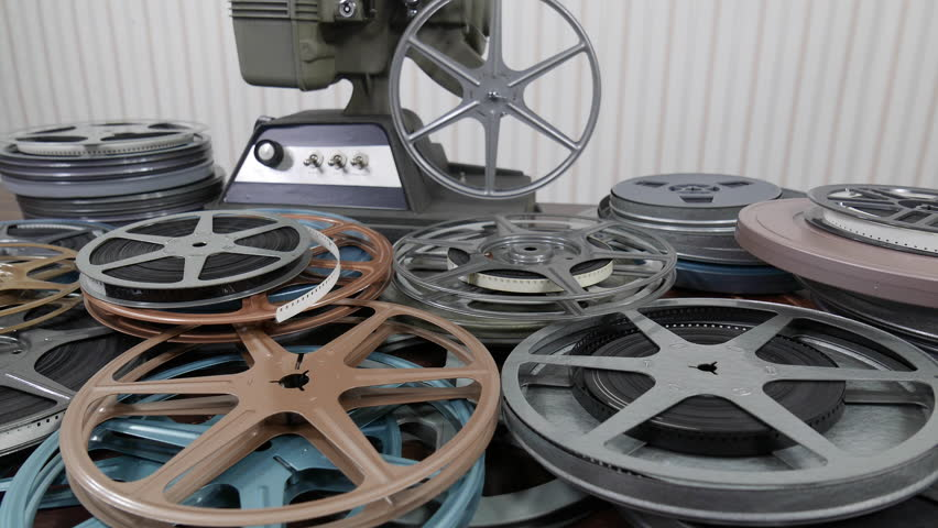 8mm projector and reels